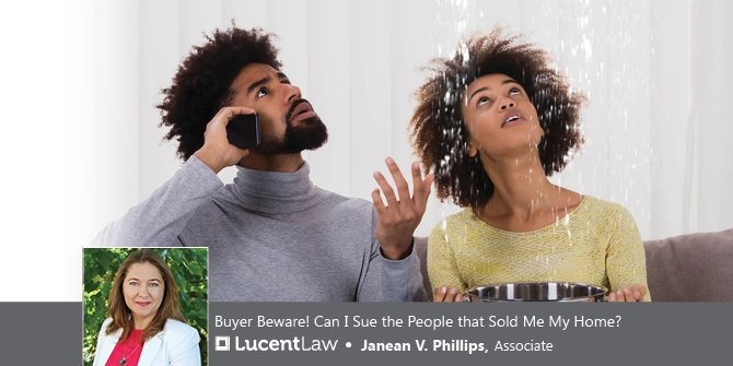 Couple sitting on couch discovering a leaky roof_Lucent Law