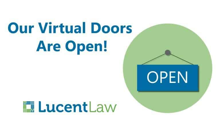 Lucent Law Open Sign Graphic